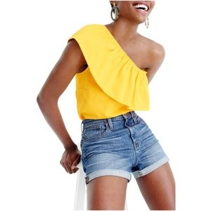 J.CREW Yellow Structured Ruffle One-Shoulder Top